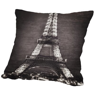 Eiffel Lights B&W Throw Pillow Size: 16 H x 16 W x 2 D