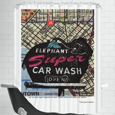 Super Elephant Car Wash Seattle Shower Curtain