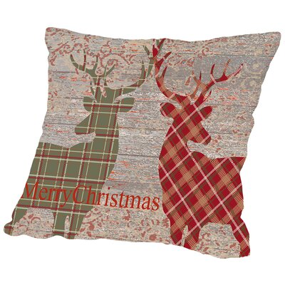 Plaid Deer Throw Pillow Size: 18 H x 18 W x 2 D