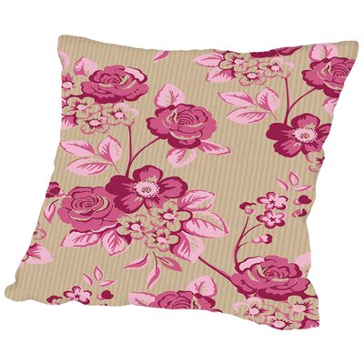 Pink Floral Throw Pillow Size: 16 H x 16 W x 2 D