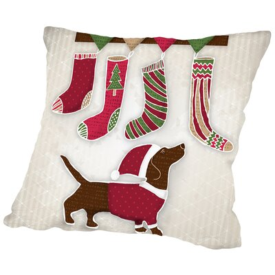 Dog with Christmas stockings Throw Pillow Size: 14 H x 14 W x 2 D
