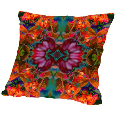 Orchids Square Outdoor Throw Pillow Size: 16 H x 16 W x 2 D, Color: Orange/Green
