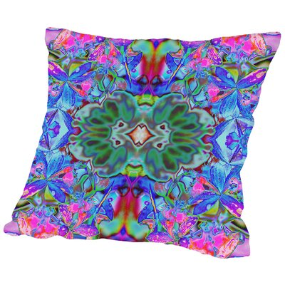 Orchids Square Outdoor Throw Pillow Size: 16 H x 16 W x 2 D, Color: Blue/Pink