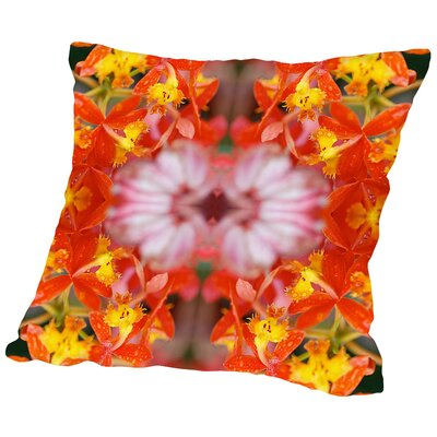 Orchids Square Outdoor Throw Pillow Size: 18 H x 18 W x 2 D, Color: Red/Yellow