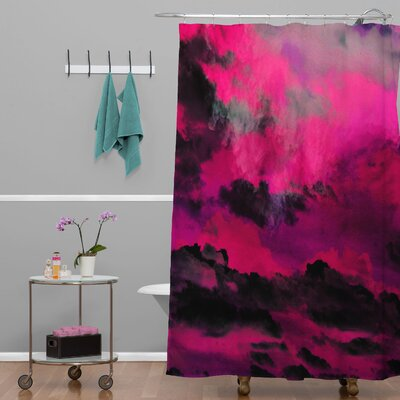 Caleb Troy Raspberry Storm Clouds Polyester Shower Curtain