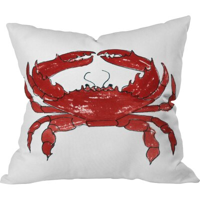 Red Crab by Laura Trevey Throw Pillow Size: 16 H x 16 W x 4 D