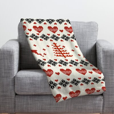 Knitting Deer Let It Snow Hearts Fleece Polyester Throw Blanket Size: 80 L x 60 W