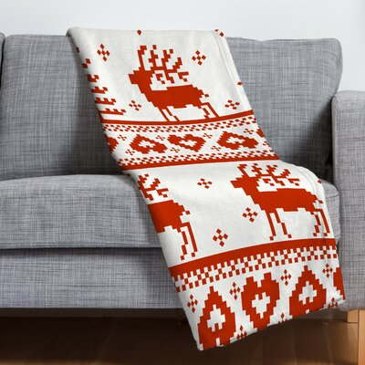 Knitting Deer Fleece Polyester Throw Blanket Size: 80 L x 60 W