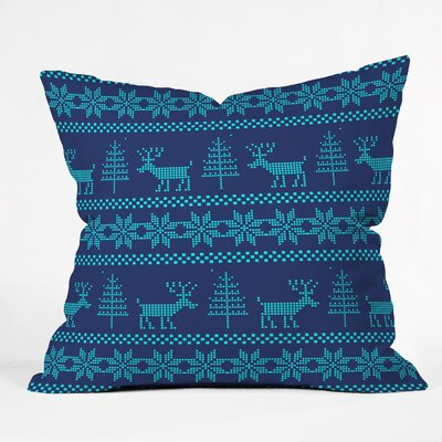 Knitting Deer Throw Pillow Size: 26 H x 26 W x 7 D