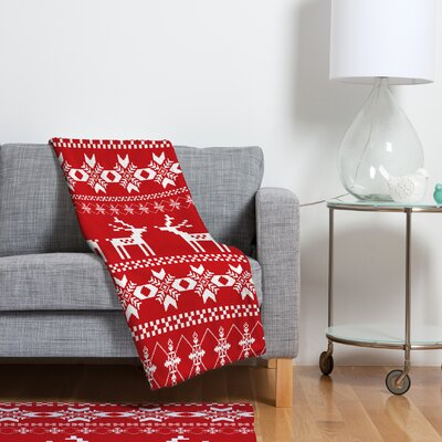 Christmas Deer Fleece Polyester Throw Blanket Size: 80 L x 60 W