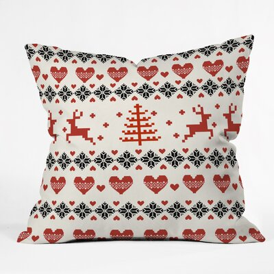 Natt Knitting Deer White Hearts Throw Pillow Size: 18 H x 18 W x 5 D