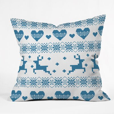 Knitting Deer with Hearts Throw Pillow Size: 18 H x 18 W x 5 D
