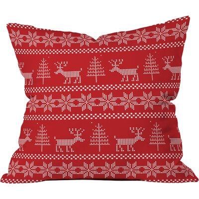 Natt Christmas Knitting Deer Throw Pillow Size: 20 H x 20 W x 6 D