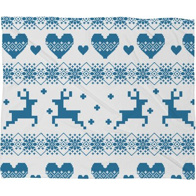 Knitting Deer with Hearts Fleece Polyester Throw Blanket Size: 80 L x 60 W