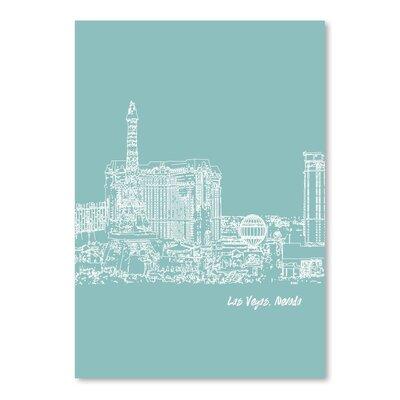 'Skyline Las Vegas 5' Graphic Art in Light Blue EASU8245 34138761