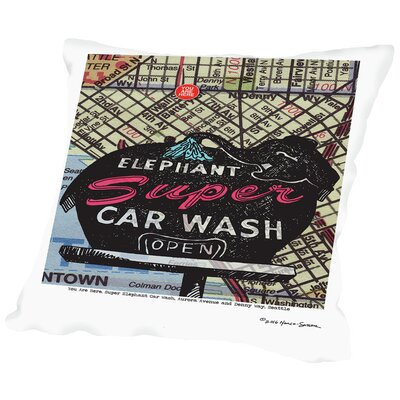 Super Elephant Car Wash Seattle Throw Pillow Size: 16 H x 16 W x 2 D