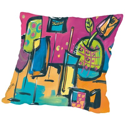 Happy Hour I Throw Pillow Size: 18 H x 18 W x 2 D