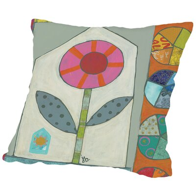 Pink Flower Throw Pillow Size: 16 H x 16 W x 2 D