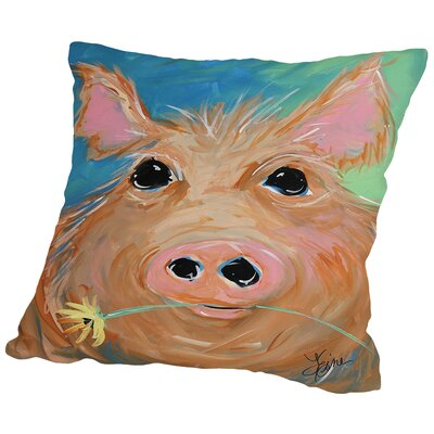 Pig With Flower Throw Pillow Size: 16 H x 16 W x 2 D