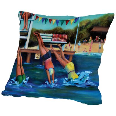 Round Bay Water Carnival Throw Pillow Size: 16 H x 16 W x 2 D