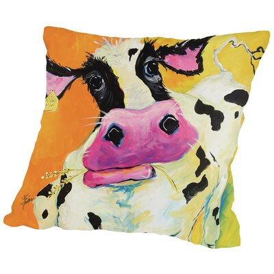 Cow Throw Pillow Size: 14 H x 14 W x 2 D