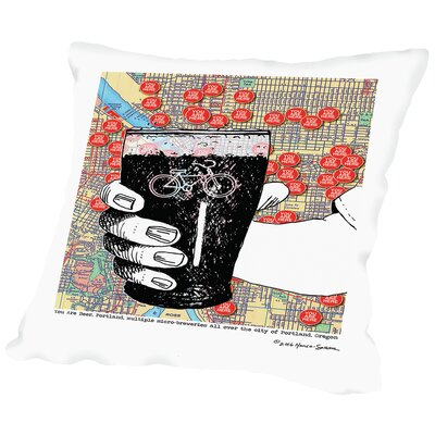 You are Beer Portland With Bike on Glass Throw Pillow Size: 18 H x 18 W x 2 D