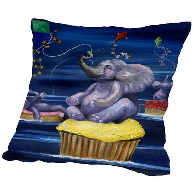 When Elephants Fly Throw Pillow Size: 20 H x 20 W x 2 D
