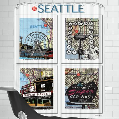 Seattle Poster Shower Curtain