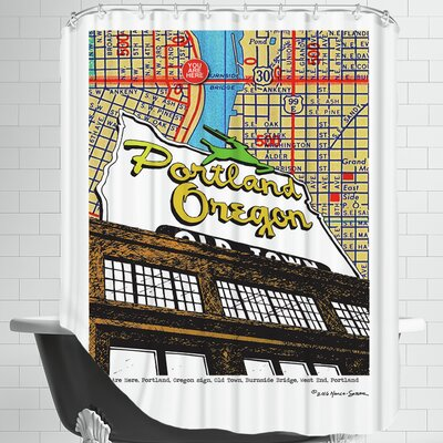 Oregon Map Sign Old Town Portland Shower Curtain