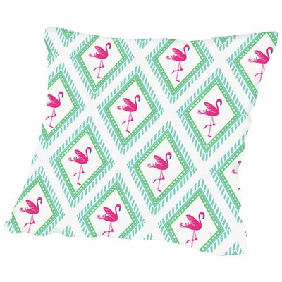 Flamingo CaraKozik Throw Pillow Size: 14 H x 14 W x 2 D, Color: White