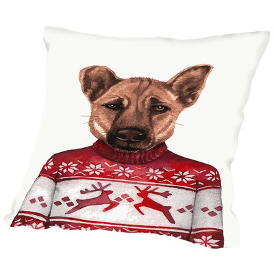 Lab in Tartan Sweater Throw Pillow Size: 14 H x 14 W x 2 D