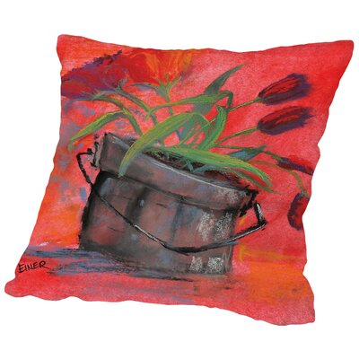 Tulip Pail Throw Pillow Size: 14 H x 14 W x 2 D