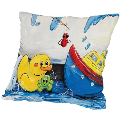Rubber Ducky and Boat Throw Pillow Size: 14 H x 14 W x 2 D
