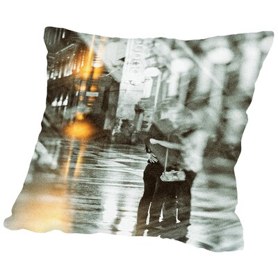 Romance in The Rain Throw Pillow Size: 16 H x 16 W x 2 D