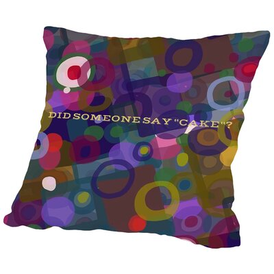 Say Cake 5 Throw Pillow Size: 16