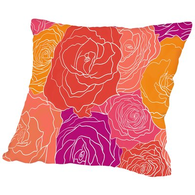 Roses Throw Pillow Size: 18 H x 18 W x 2 D