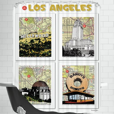 Los Angeles Poster Shower Curtain