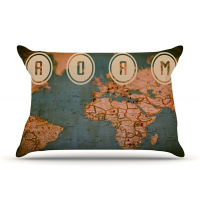 Roam II by Ann Barnes World Map Cotton Pillow Sham
