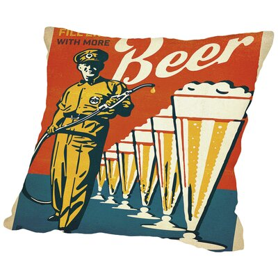 BEER FillerUp Throw Pillow Size: 18 H x 18 W x 2 D