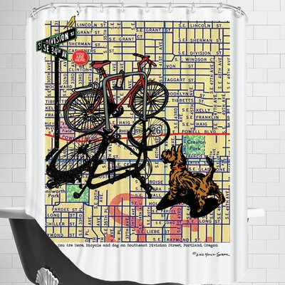 Bicycle And Dog Division Portland Shower Curtain