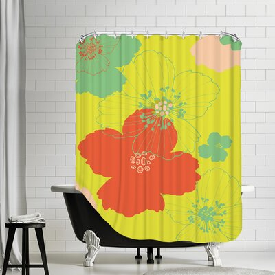 Big Poppy Shower Curtain Color: Yellow