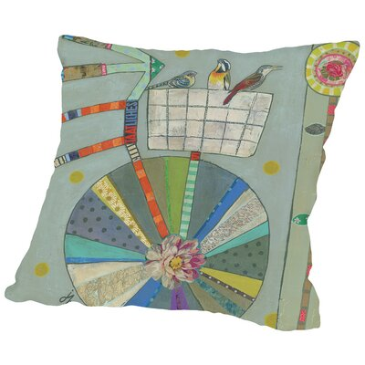 Bird Basket In Bicycle 42X42 Throw Pillow Size: 20 H x 20 W x 2 D