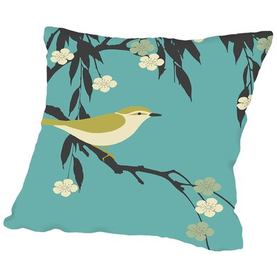 Bird on Branch Throw Pillow Size: 14 H x 14 W x 2 D