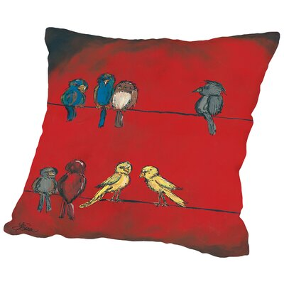 Birds on a Wire Throw Pillow Size: 20 H x 20 W x 2 D