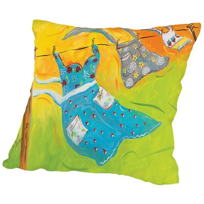 Blowing Laundry Throw Pillow Size: 14 H x 14 W x 2 D