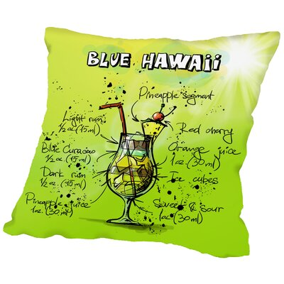 Blue Hawaii Cocktail Throw Pillow Size: 18 H x 18 W x 2 D