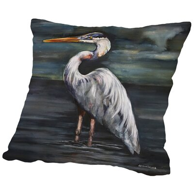 Blue Heron At Dusk Throw Pillow Size: 16 H x 16 W x 2 D