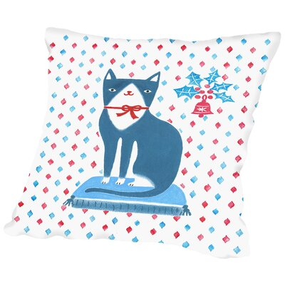 Blue Holiday Cat Throw Pillow Size: 18 H x 18 W x 2 D