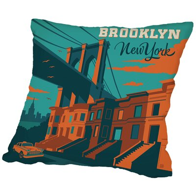 Brooklyn NYC Throw Pillow Size: 18 H x 18 W x 2 D