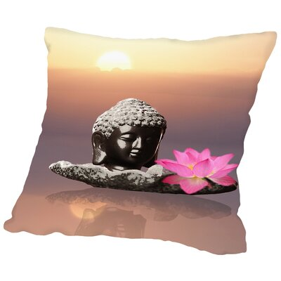 Buddha Lotus Flower Throw Pillow Size: 18